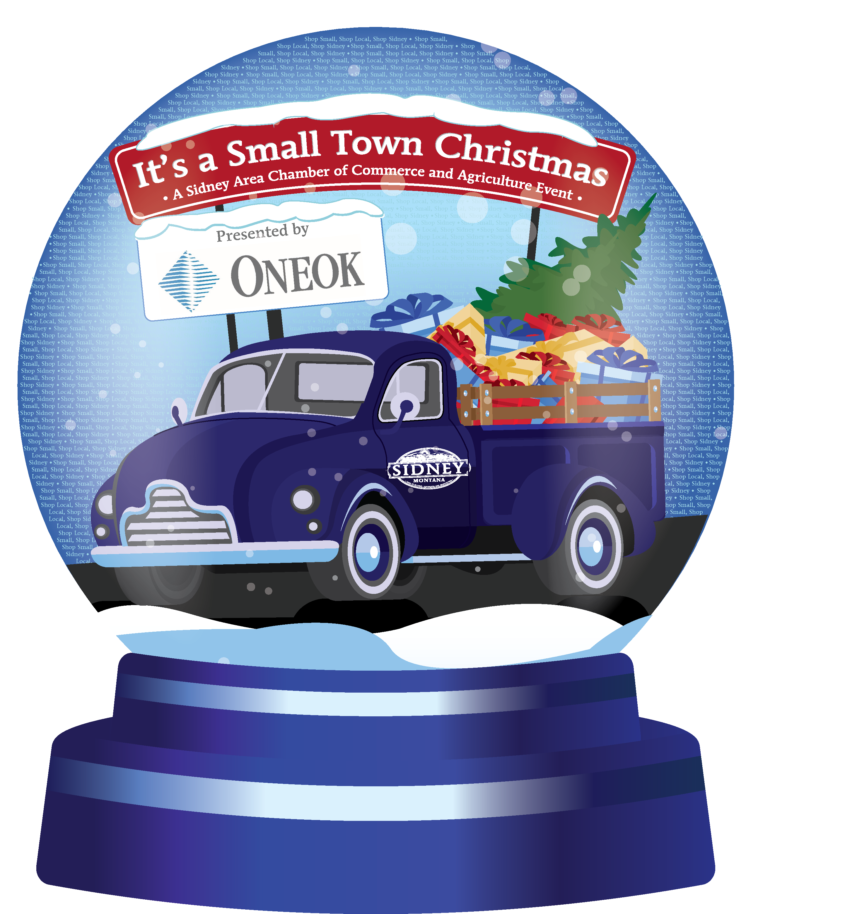 Its A Small Town Christmas Logo With Globe